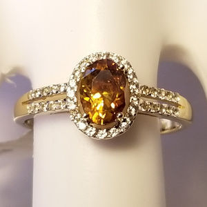 14k Gold Oval Sphalerite and Zircon Ring NWT
